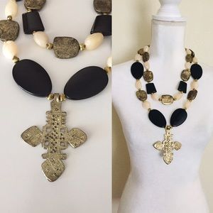 Extra Large Plastic Beaded Cross Necklace